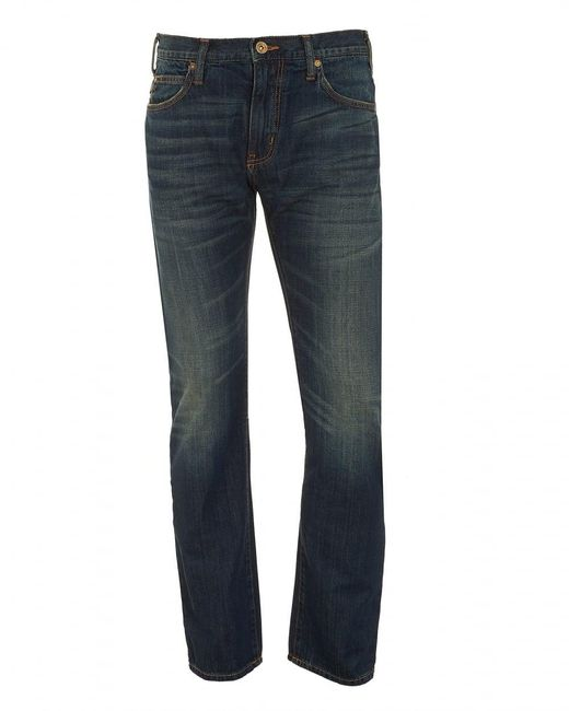 Armani Jeans - J45 Jeans, Dark Whisker Navy Blue Slim Fit Denim for Men - Lyst