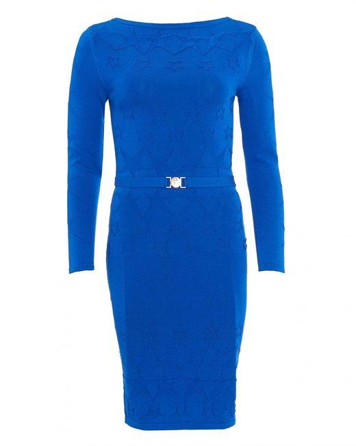 Versace - Dress, Long Sleeve Cobalt Blue Star Knitted Dress - Lyst