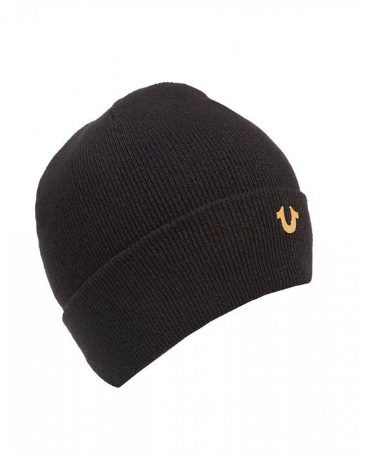 True Religion - Metal Logo Black Beanie Hat for Men - Lyst