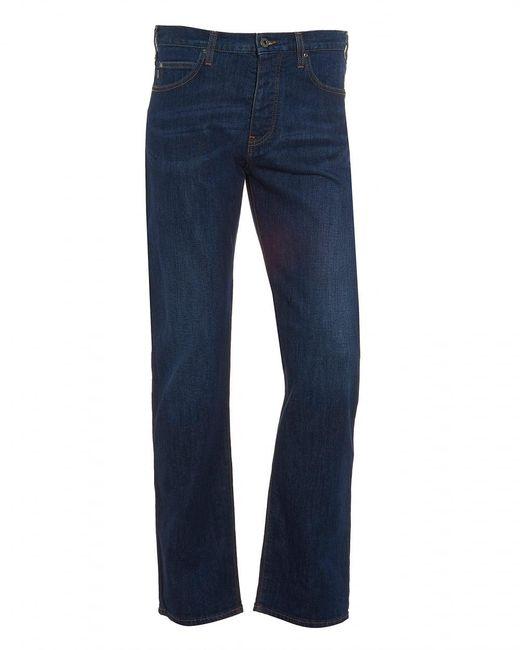 Armani Jeans | Blue J21 Jeans, Regular Fit Tobacco Stitch Mid Wash Denim for Men | Lyst