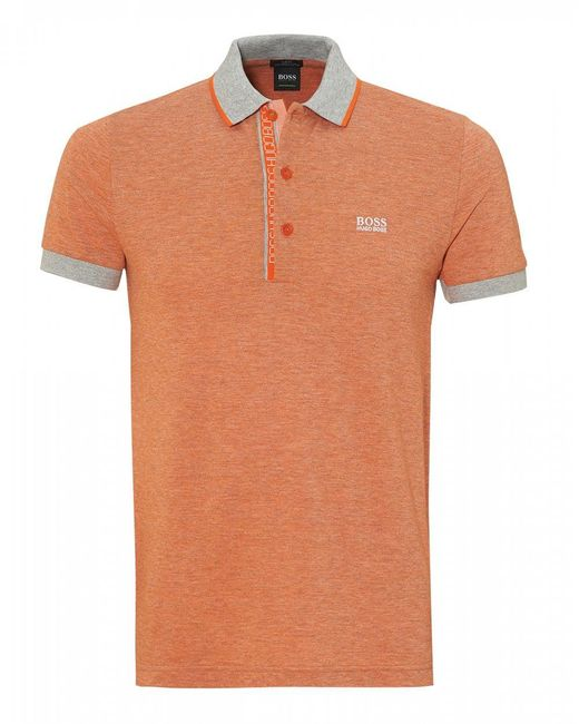 BOSS - Paule 4 Polo Shirt, Slim Fit Orange Polo for Men - Lyst