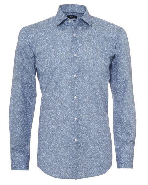 BOSS - Jenno Shirt, Micro Floral Print Navy Blue Shirt for Men - Lyst