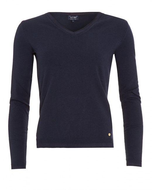 Armani Jeans - Jumper, Navy Blue V-neck Sweater for Men - Lyst