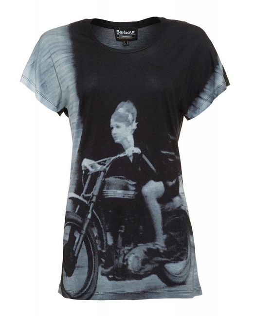 Barbour | International Black Photographic Print Oversized 'sprint Tee' T-shirt | Lyst