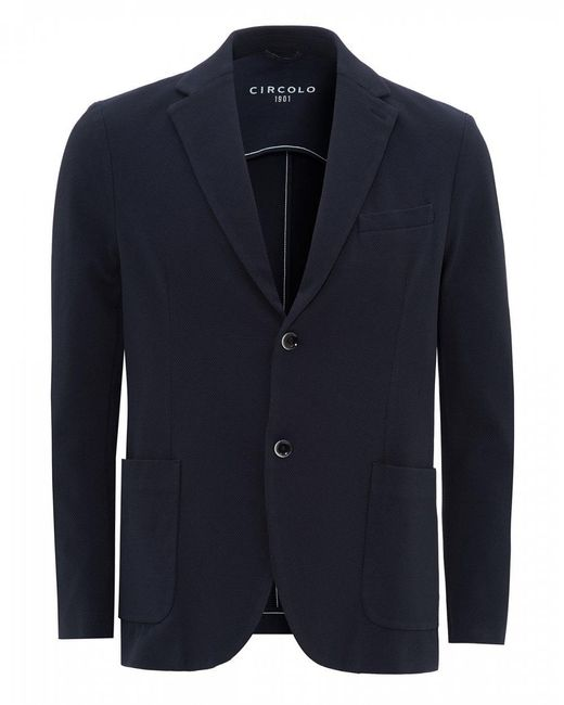Circolo 1901 Blue Oxford Jersey Blazer, Navy Jacket for men