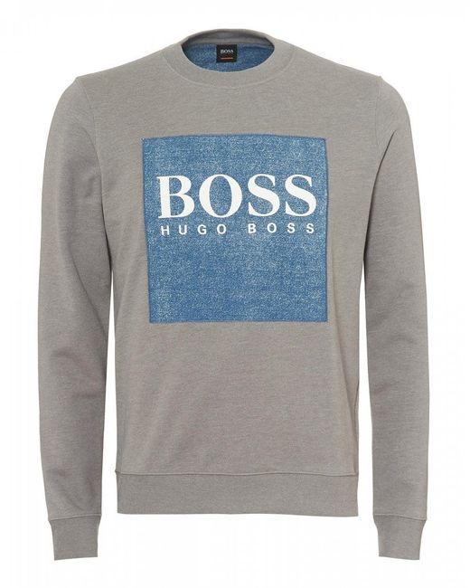 BOSS - Gray Wedford Sweatshirt, Denim Patch Grey Sweat for Men - Lyst