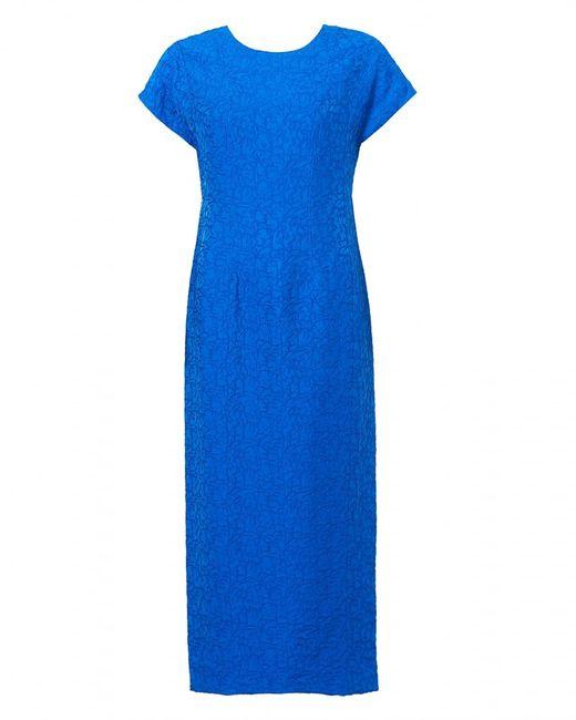 Diane von Furstenberg | Jacquard Crinkle Texture Bright Blue Dress | Lyst