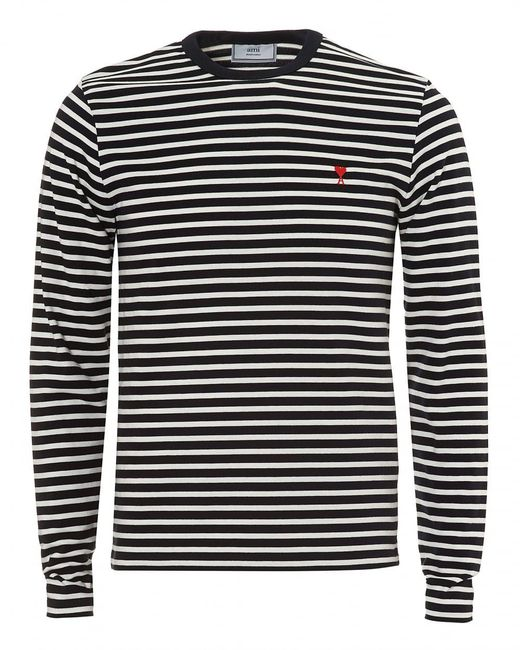 Lyst ami navy white striped pattern long sleeve t shirt for Navy blue striped long sleeve shirt