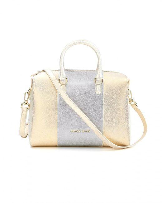 Armani Jeans | Bag, Large Pearl Gold Metallic Tote | Lyst