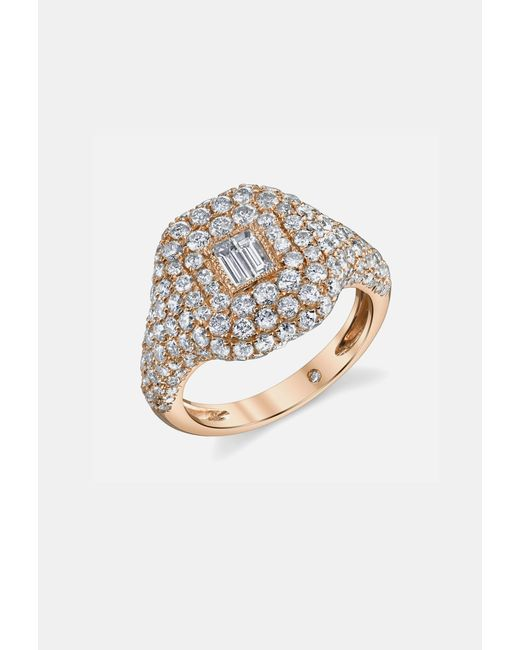 SHAY | Metallic Pave Essential Pinky Ring In Rose Gold With Baguette Diamond | Lyst