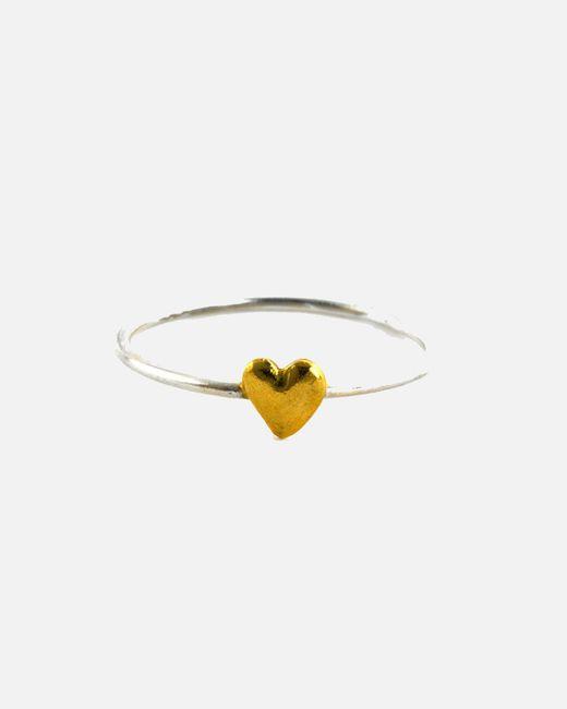 Alex Monroe - Metallic Fine Ring With Tiny Heart - Lyst