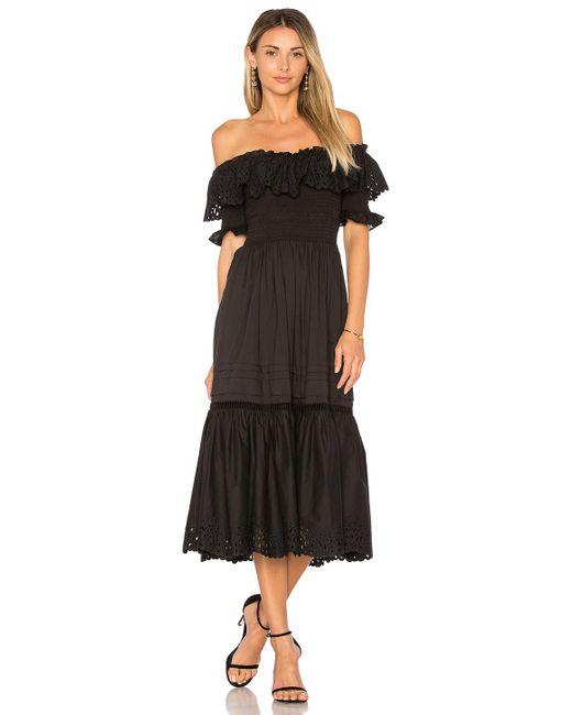 Rebecca Taylor | Black Off Shoulder Nouveau Eyelet Dress | Lyst