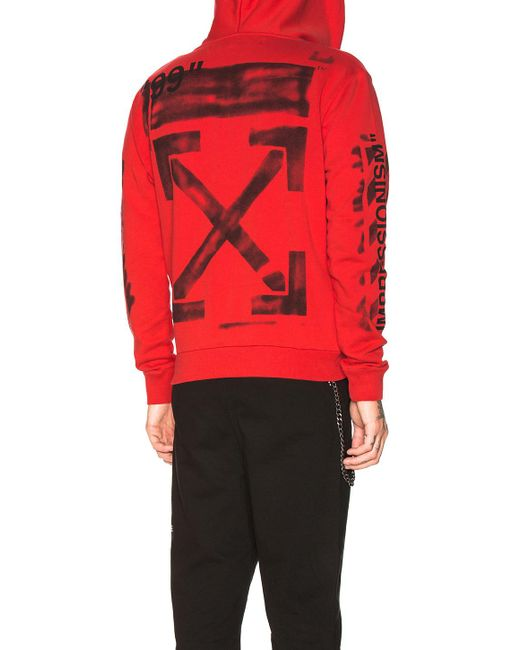 2e5f453ba85e ... Off-White c o Virgil Abloh - Red Diagonal Stencil Hoodie for Men ...
