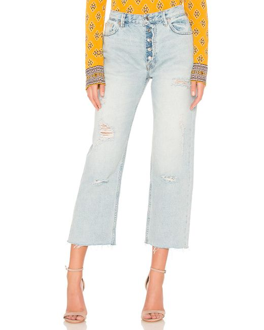 Free People - Blue Rolling On The River Straight Crop - Lyst