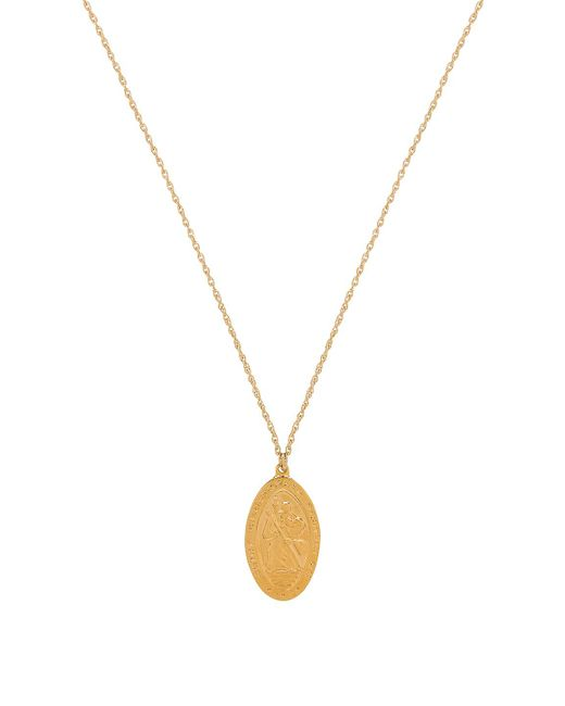 Natalie B. Jewelry - Saint Christopher Necklace In Metallic Gold. - Lyst