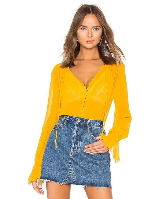 Nicholas - Yellow Georgette Blouse In Mustard - Lyst