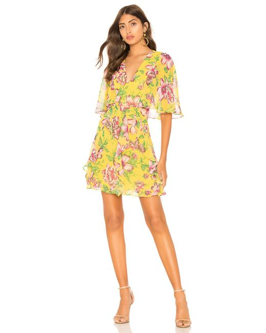 BCBGMAXAZRIA - Mabel Floral Dress In Yellow - Lyst