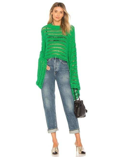 Free People - Green Caught Up Crochet Top - Lyst