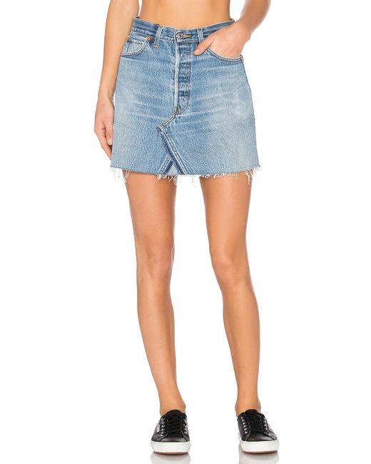 Re/done - Levis High Waist Mini Skirt In Blue - Lyst