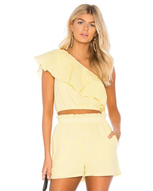 MINKPINK - Gingham Frill Top In Yellow - Lyst