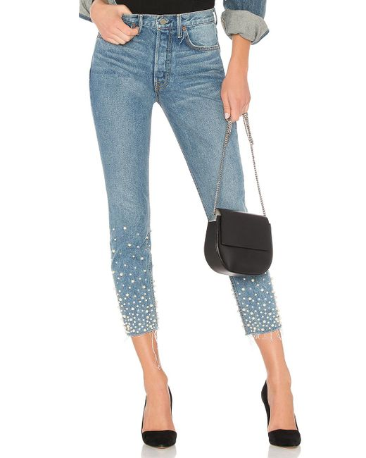 GRLFRND | Blue Karolina Embellished High-rise Skinny Jean | Lyst