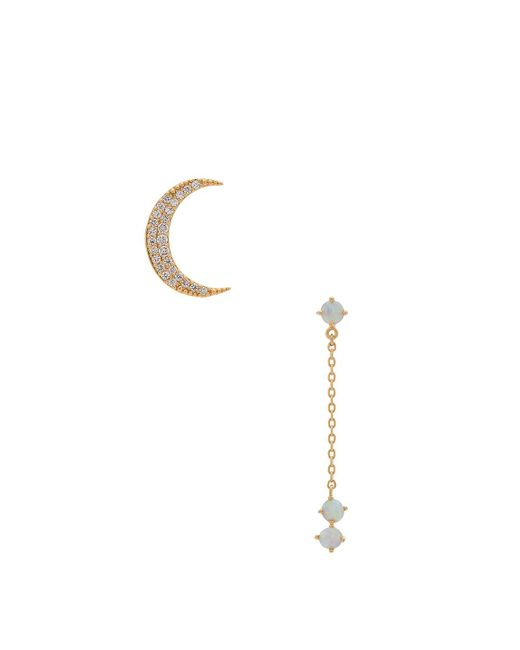 Wanderlust + Co - Metallic Crescent Gold & Opal Drop Earring - Lyst
