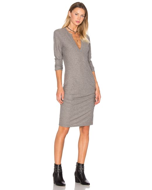 James Perse Henley Dress In Gray Lyst