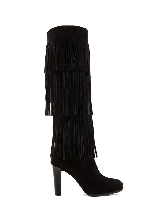 Stuart Weitzman | Black Fringie Suede Knee-High Boots | Lyst