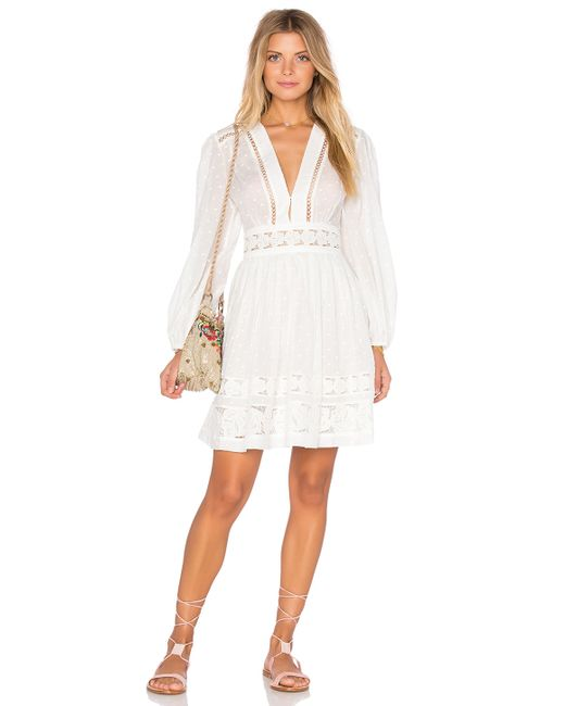 Zimmermann realm embroidered panel dress in white lyst