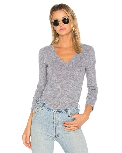 Monrow - Jersey Long Sleeve V Neck Tee In Gray - Lyst