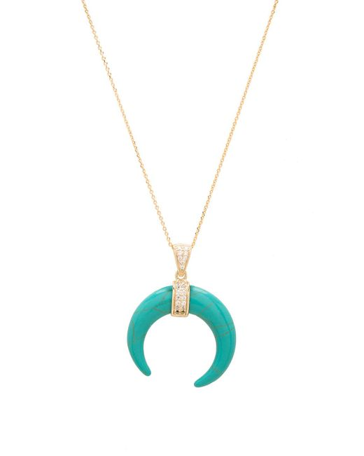 Joolz by Martha Calvo | Green Turquoise Crescent Moon Necklace | Lyst