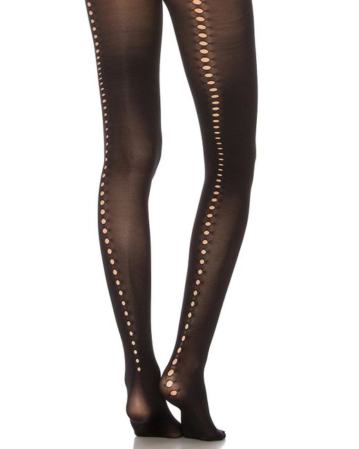 Pretty Polly - Cut Out Backseam Tights In Black. - Lyst