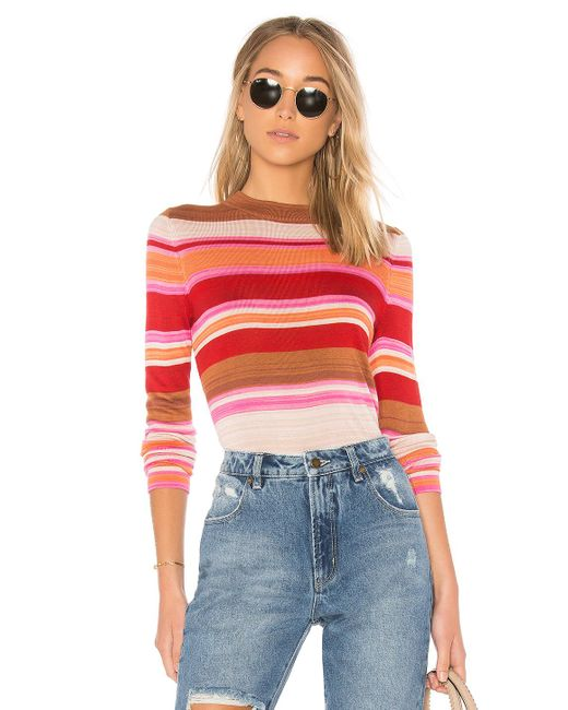 Free People   Red Show Off Your Stripes Tee   Lyst