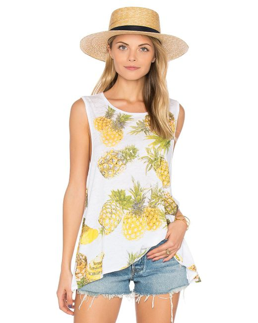 Chaser | White Pineapples Flounce Tank | Lyst
