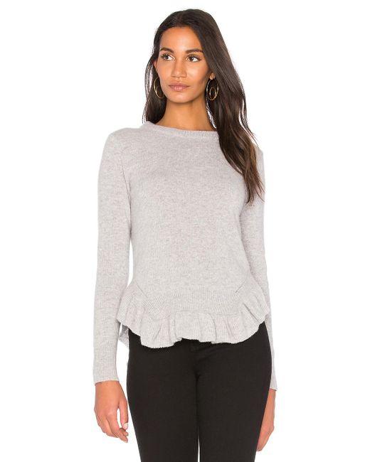Nude | Gray Round Neck Ruffle Hem Sweater | Lyst