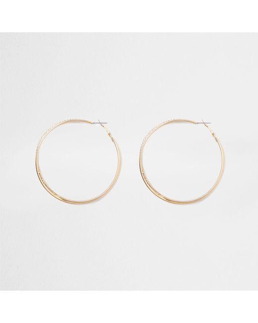 River Island - Metallic Tone Double Hoop Rhinestone Earrings - Lyst