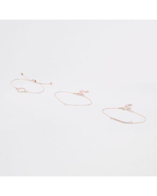 River Island - Metallic Rose Gold Diamante Paved Bracelet Pack - Lyst