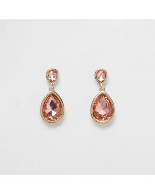 River Island   Metallic Gold Tone Peach Teardrop Dangle Earrings   Lyst