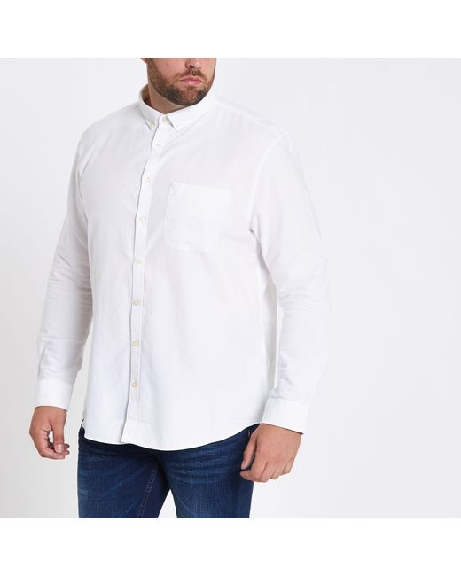 22f776accd River Island - White Long Sleeve Button-down Oxford Shirt White Long Sleeve  Button- ...
