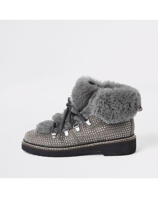 River Island - Gray Check Faux Fur Tri Boots - Lyst