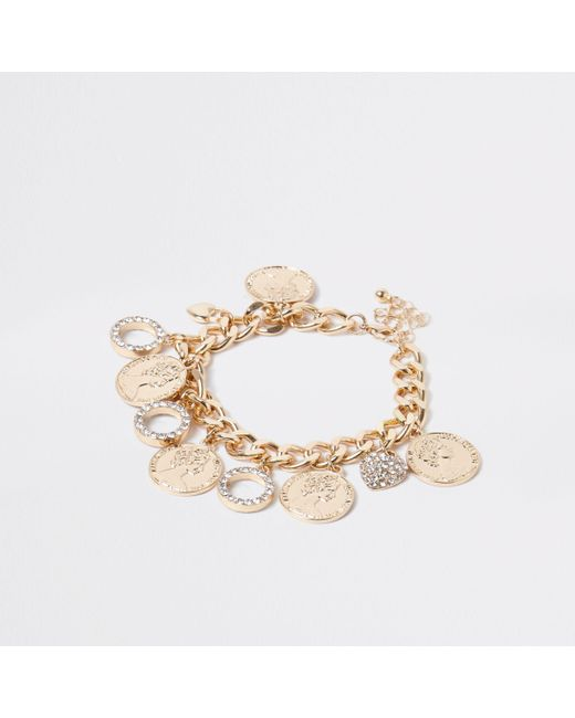 River Island - Metallic Gold Tone Chain Coin And Circle Bracelet - Lyst