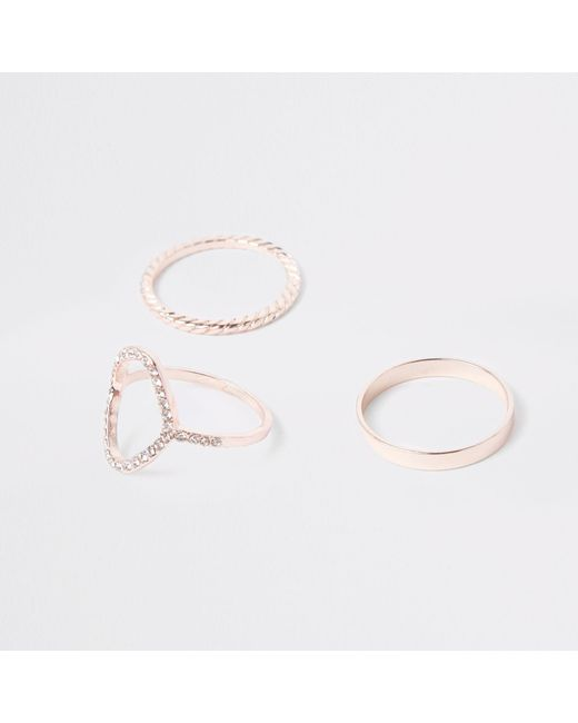 River Island - Multicolor Rose Gold Tone Ring Multipack - Lyst