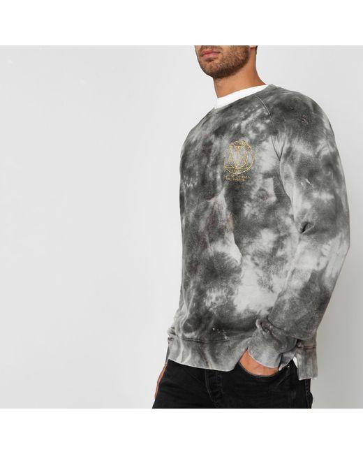 Jack & Jones - Gray Tie Dye Crew Sweatshirt for Men - Lyst
