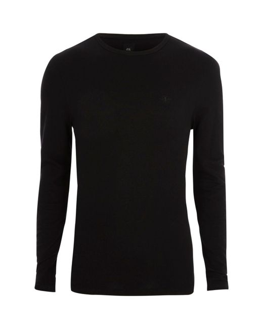 River island black pique long sleeve muscle fit t shirt for Black fitted long sleeve t shirts