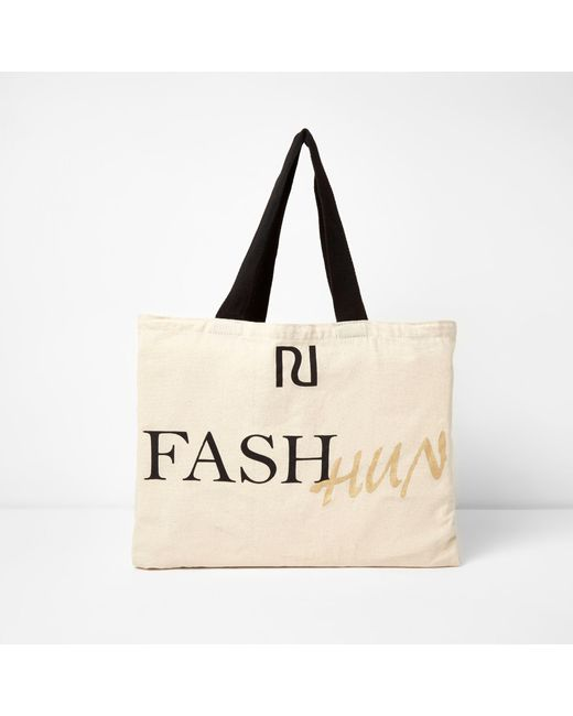 River Island - Natural 'fash Hun' Print Shopper Tote Bag - Lyst