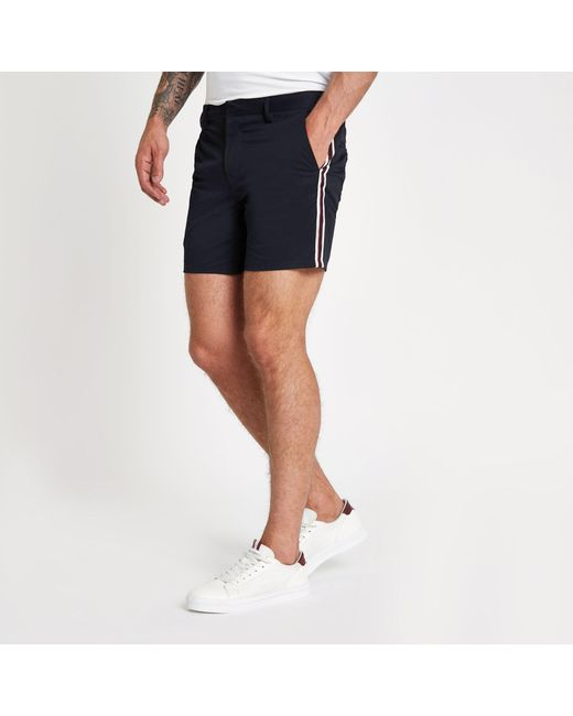 6ab64dc08d River Island Navy Tape Side Slim Fit Chino Shorts in Blue for Men - Lyst