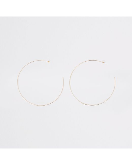River Island - Metallic Gold Tone Oversized Hoop Earrings - Lyst