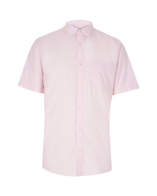 river island light pink slim fit oxford shirt in pink for
