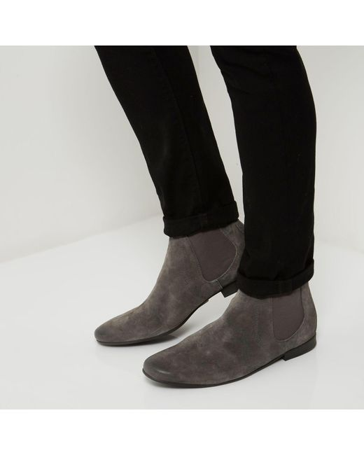 Grey Suede Chelsea Boots River Island