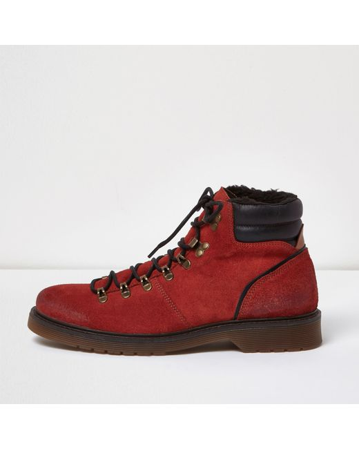 river island orange suede hiking boots in orange for
